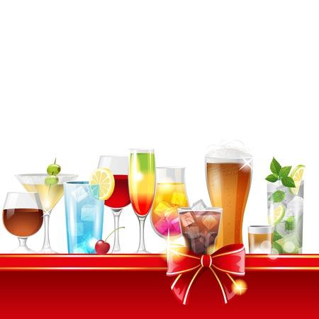bourbon whisky: Alcohol cocktails border over white background - vector