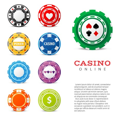 9 highly detailed gambling chips over white background Illustration