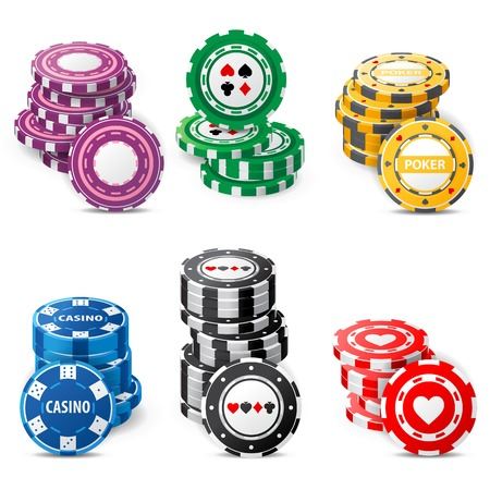 roulette wheel: gambling chips stacks over white background Stock Photo