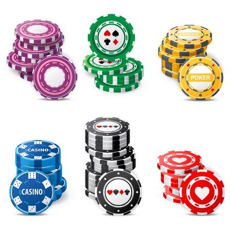 gambling chips stacks over white background Stock Photo