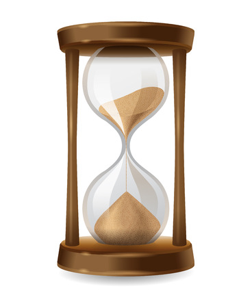 hourglass: Transparent sand hourglass on white background