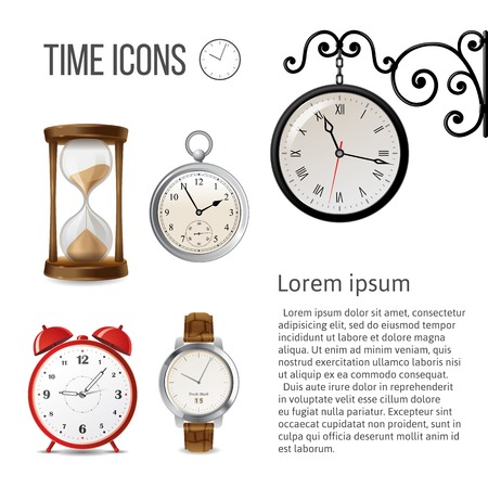 Watch time icons over white background Vector