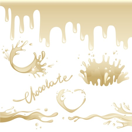 Chocolate splashes set over white background Vector