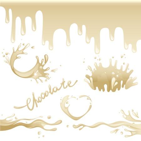 sweet sauce: Chocolate splashes set over white background
