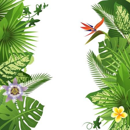 Tropische achtergrond met bloemen en planten Stock Illustratie