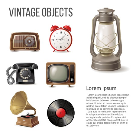 retro radio: 7 vintage objects over white background