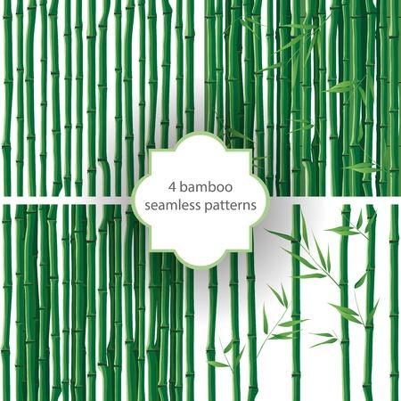 4 つの明るいシームレスな竹パターン