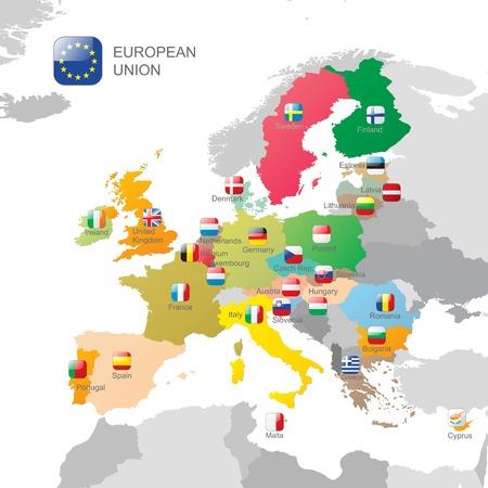 deutschland karte: Die Karte und Flaggen der Europäischen Union Illustration