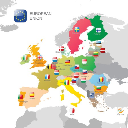 The European Union map and flags Vector