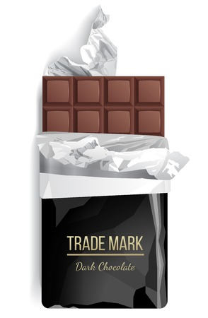 Chocolate bar over white background