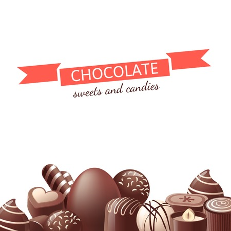 Chocolate sweets and candies over white background Illustration