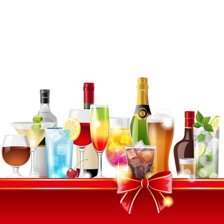 whisky bottle: Alcohol cocktails and bottles over white background - vector Illustration