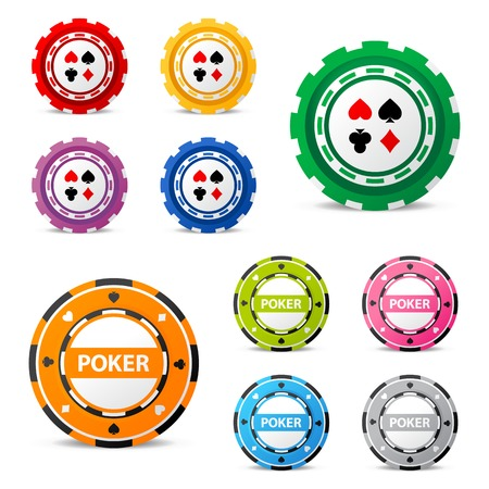 10 highly detailed gambling chips over white background Illustration