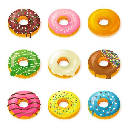 fattening: Set of 9 tasty donuts
