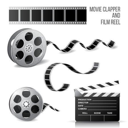 rollo pelicula: Chapaleta de la película y rollo de película sobre fondo blanco