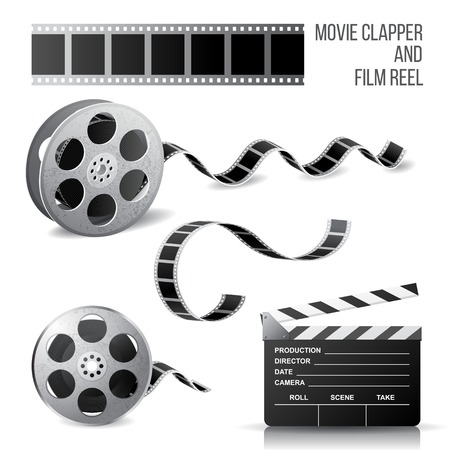 photo strip: Movie clapper and film reel over white background Illustration
