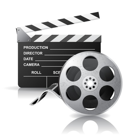 movie film reel: Movie clapper and film reel over white background Illustration