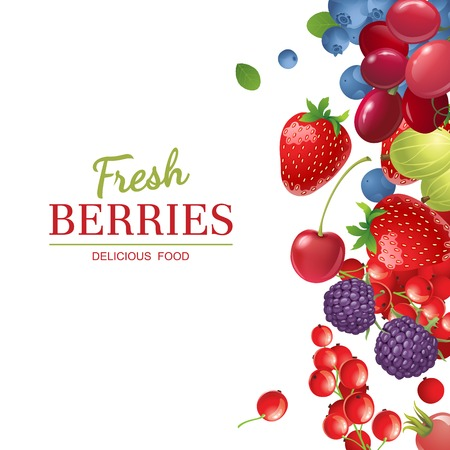 blue berry: Bright  berries  over white background
