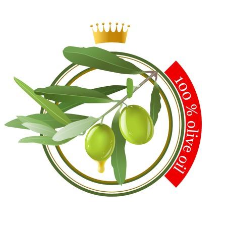 olive oil stamp over white bckground