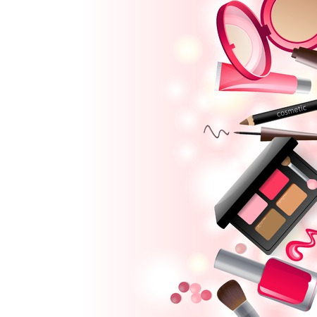 cosmetics products: Glamorous make-up background with place for your text