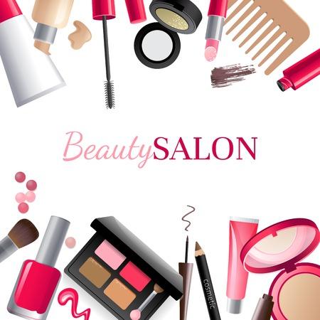 make up brush: Glamorous fondo de maquillaje con el lugar para su texto