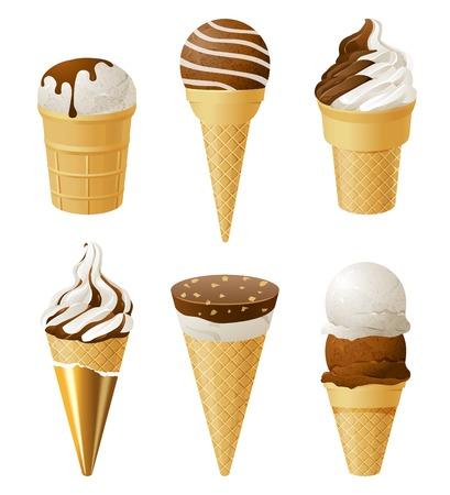白い背景の上 6 のアイスクリーム アイコン
