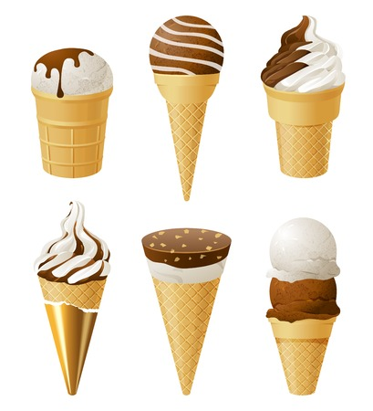6 ice cream icons over white background Ilustrace