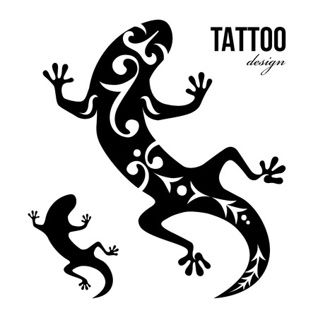 Black and white gecko tattoo Vector