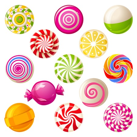 caramel candy: 13 round bright lollipops over white background