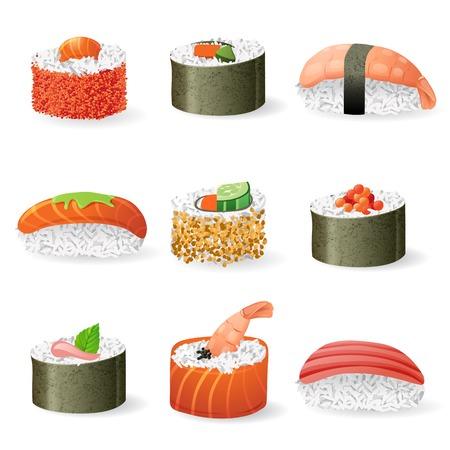 9 highly detailed sushi icons over white background
