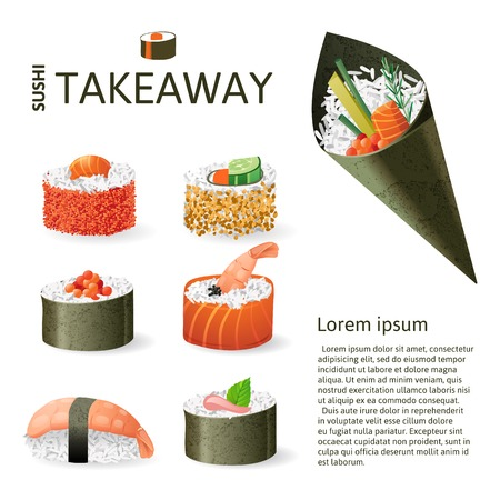 nori: Great set of sushi variations over white background