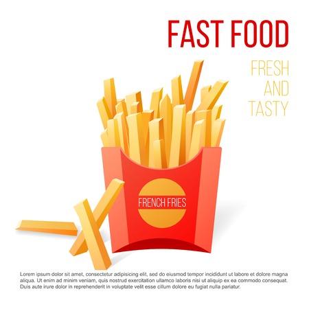 prepared potato: French fries over white background