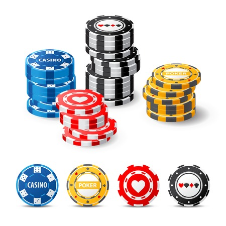 highly detailed gambling chips over white background Stock Photo