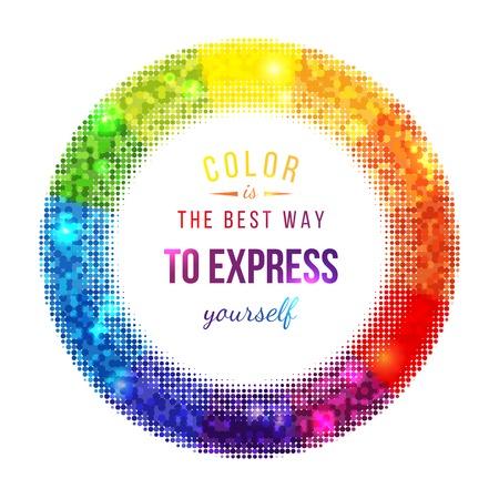 color wheel: Bright halftone color wheel and type design Illustration