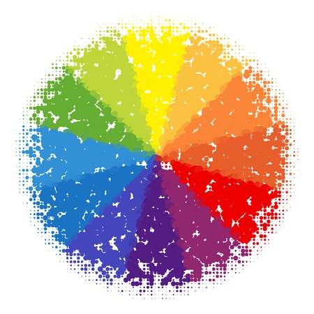 color fan: Bright halftone color wheel made from dots