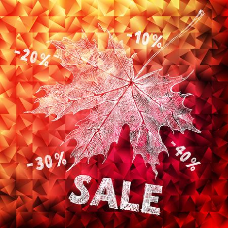 Bright autumn calligraphic design background Vector
