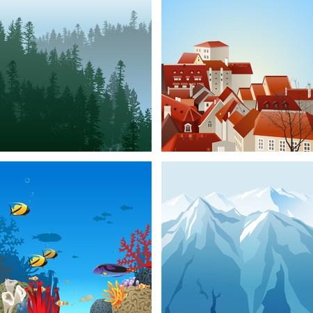 non urban scene: 4 highly detailed landscapes for your designs Illustration