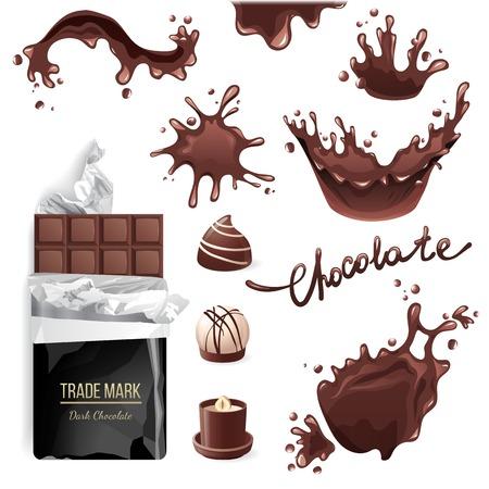 Chocolate bar, candies and splashes set