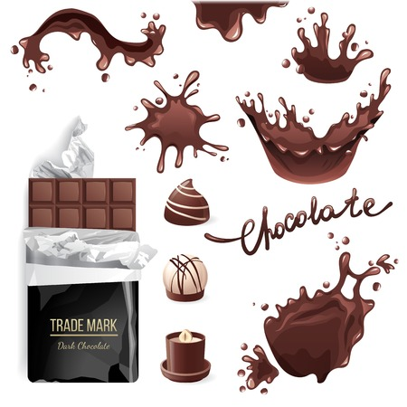 chocolate splash: Chocolate bar, candies and splashes set