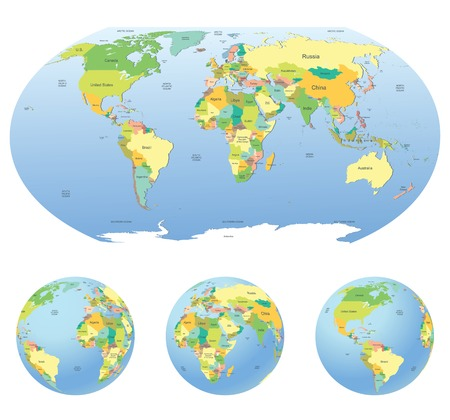hemisphere: Globe with political world map isolated on white