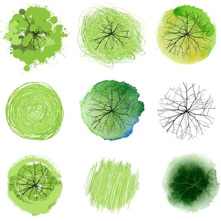 top round: 9 hand drawn trees for your landscape designs Stock Photo