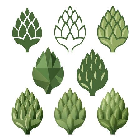 beer pint: 8 iconos estilizados hop sobre el fondo blanco Vectores