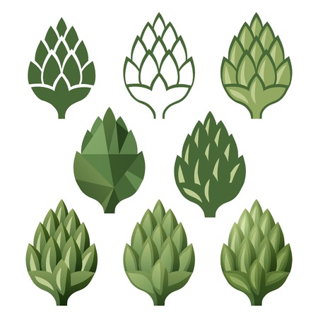 green beer: 8 stylized hop  icons over white background