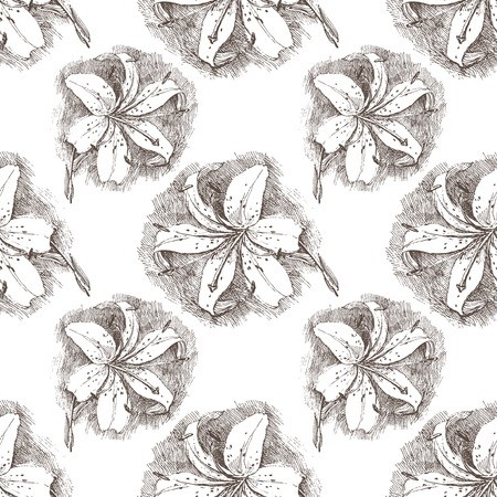 hand painted: seamless pattern with hand drawn lily flower Illustration
