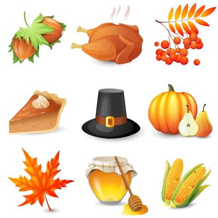 thanksgiving day symbol: 9 ringraziamento icone su sfondo bianco