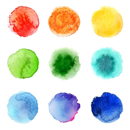 water stained: 9 round hand drawn watercolor samples Illustration