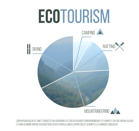 Eco tourism graph over white background Vector