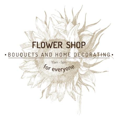 sunflower drawing: shop emblem over hand drawn sunflower sketch