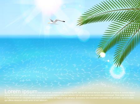 sea landscape: Summer sea landscape with type design