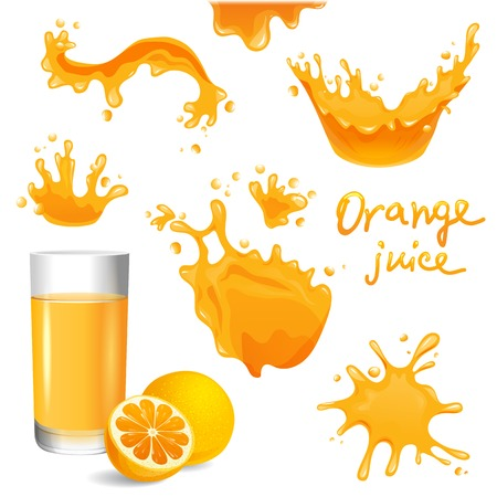 orange juice: Glass of orange juice, orange and splashes  set Illustration